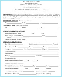 7-Day Divorce Without Children Worksheet