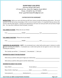CUSTODY VISITATION WORKSHEET