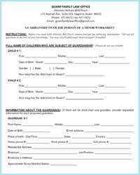 Guardianship over minors person Worksheet