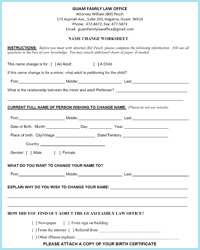 Name Change Worksheet